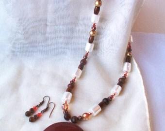 Carnelian stone pendant necklace and earring set - round natural stone pendant - Carnelian necklace - Carnelian stone jewelry set