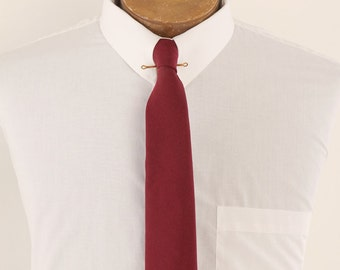 1950s Burgundy Maroon Hand Painted Mens Name Tie Optical Illusion