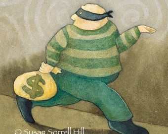 Karma - original watercolor painting - fantasy fairytale watercolour - bank robber money thief - masked bandit - god watching - illustration