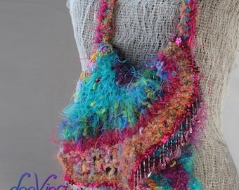 Freeform Purse Bag in fusia  pink  teal  purple Deevinci  READY TO SHIP