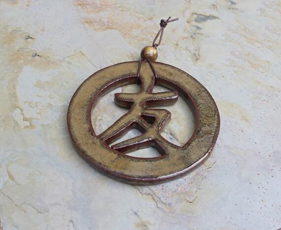 Japanese Symbol of Friendship Wall Hanging - Ceramic Wall Art - Zen Decor