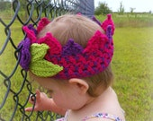 CUSTOM Bi-color Crochet Crown with Flower Baby Birthday Crown Boutique Little Boys Crown Made to Order