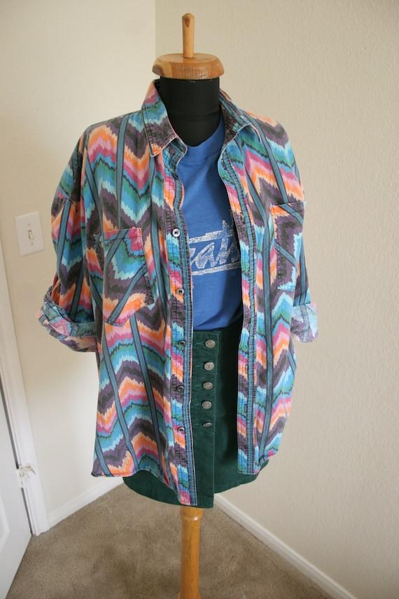 Vintage rainbow western wear shirt bright tribal / chevron printed