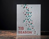Holiday Cards SET OF 10 - Letterpress Greeting Cards - Tis the Season