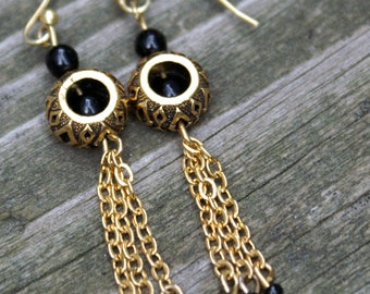 Gold Chain and Black Beaded Earrings