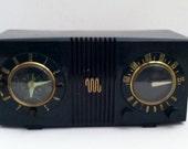 Welcome To The Space Age --- Vintage  Mid Century 1950 Motorola 5C Bakelite Radio and Clock