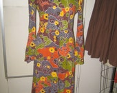 Vintage 1970's Printed Cotton Jersey Dress - Trees, Flowers, Earthtones -  Size small