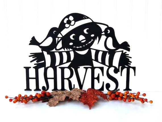 Scarecrow Harvest Metal Wall Art - Black, 14.5x10.5, Garden Metal Art, Fall Decoration, Fall Decor, Metal Signs