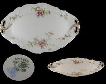 Antique Limoges Oval Pierced Handled Serving Platter - France
