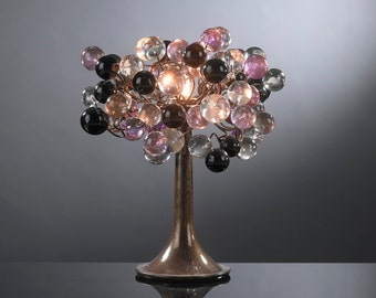 Purple bubble Table lamp with metal wires, desk  lamp with Purple Gray and Clear bubbles table lighter.