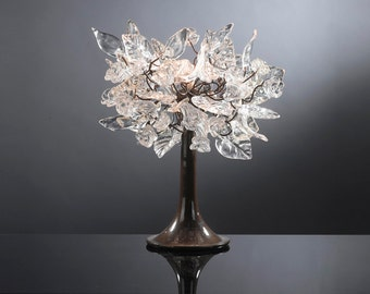 Decorative Table Lamp with Clear Transparent flowers and leaves, brass and metal wires, lighter for desk or bedside table.