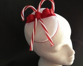 White or Red Sinamay Pillbox Fascinator with Candy Canes