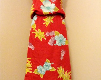 Vintage Hawaiian prints Summer Top and Skirt Beach Wear Michelle Pin Up Girl Size M