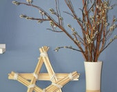 Decorative Star made of Willow Branches and Leather