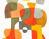 Milieu du siècle moderne Abstrait Art Print affiche «Heureux» mi siècle affiche jaune rouge marron kaki gris noir 8 x 10