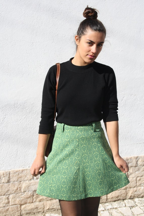 1960s Mod Mini Skirt / 60s Green Paisley High Waist Mini Skirt