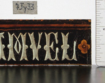 Antique Stained Glass Fragment, Name SAMVEL, a small and unique, hand painted, Gothic Revival glass piece - Ref: 7jy33