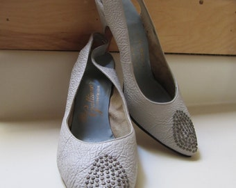 Grey slingback heels studded toe Galliano Custom Footwear