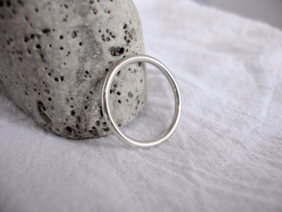 silver ring simple promise ring wedding band in