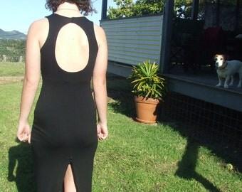 Black Maxi- Streamlined- Keyhole Back- Rayon Lycra- Womens Dress