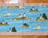 Lighthouse Beach Scene Quilted Table Runner