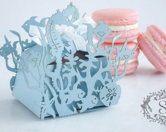 Wedding Favors Macaron Favor Wedding Under the Sea Favor Box and (1) French Macaroon