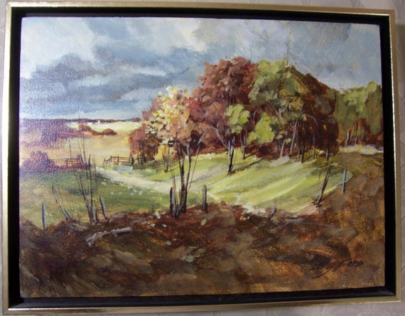 Original Painting by Edward C. Gifford Original Frame 1970's Early Fall Landscape