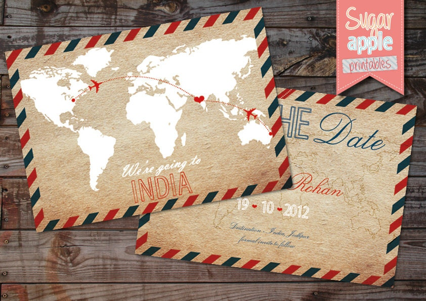 Vintage travel Save the date Destination wedding INDIA