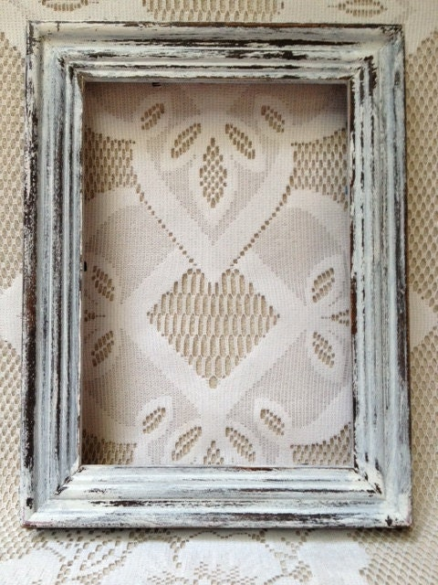 Vintage Rustic Wooden Frame White Distressed Recrafted