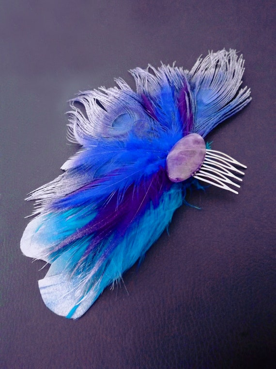 Feather Fascinator Blue And Purple Peacock Feather Comb