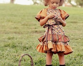Thanksgiving or Fall Inspired Holiday  Ruffled Boutique Style Dress (Sizes 12 Months-5T)