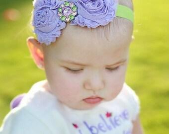 Shabby Flower Headband.Baby Headbands.Shabby Headband.Baby Girl Headbands.Shabby Chic.Lime Green Headband.Baby Headband.Lavender Headband