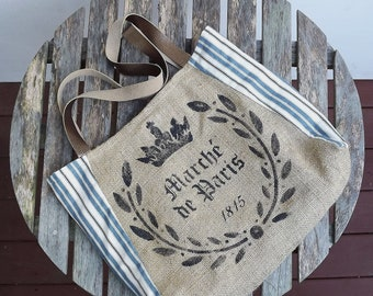 tote bag RENEE: handpainted BURLAP TOTE - burlap and blue french ticking with metallic bronze leather straps by Eurocentrics