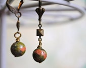 Red & Green Unakite Leverback Earrings - Mother's Day, geometric, bronze charm, scalloped, nickel free