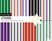 Grunge Halloween Stripes Digital Papers Black Orange Green Purple