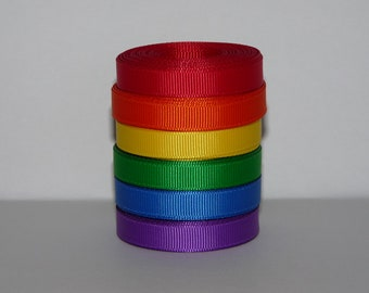 """3/8"""" (10mm) Primary Color Solid Grosgrain Ribbon Lot  (Choose 3 or 5 yards each of 6 different colors)"""