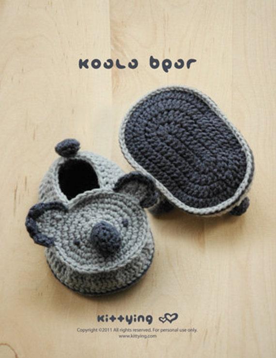 Patrón Crochet Koala bebé Botines Calcetines del bebé Koala