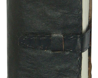 Plain Black Handcrafted Leather Journal, Travel Journal, Un-ruled Pages, Tied with Loop and Belt