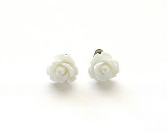 Tiny Pure White Rose Earrings, White Wedding Earrings, Stud Earrings, Post Earrings Under 5