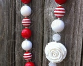 Chunky Red White Flower Necklace Baby Girls Womens