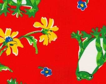 Vintage Red Frog Fabric - 1 Yard