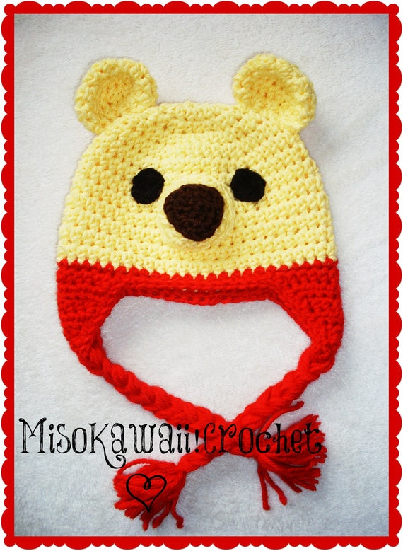 Crochet Pooh Bear Hat Pattern : Crochet Pattern: Kawaii Pooh Hat by MisoKawaiiCrochet on Etsy