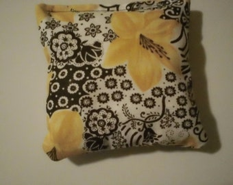 """CUSTOM MADE  Rest Reiki and Relaxation Small Square Herbal Dream Pillow in """"Golden Bloom"""""""