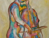 SALE Limited Edition Art Print of Watercolor / Colored Female Cellist / 8 x 10 / Signed by Artist