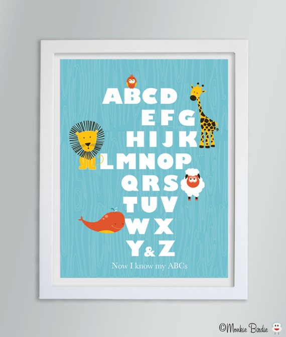 Baby Nursery Art Print Dog Abc Nursery Decor Alphabet Print: Alphabet Art Animal Nursery Decor Alphabet Print Kids Room