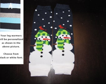 SNOWMAN CHRISTMAS baby leg warmers.  Great for babies, toddlers, and young kids
