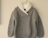 Hand Knitted boy sweater, gray. Made to order - CasitadeLana