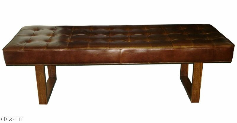 Retro Modern Genuine Leather Bench Ottoman By Alexalindesigns