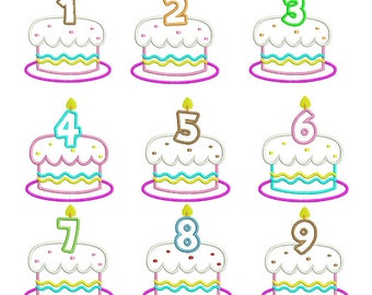 Birthday cake numbers set Machine Embroidery Applique -4x4  5x5 inch