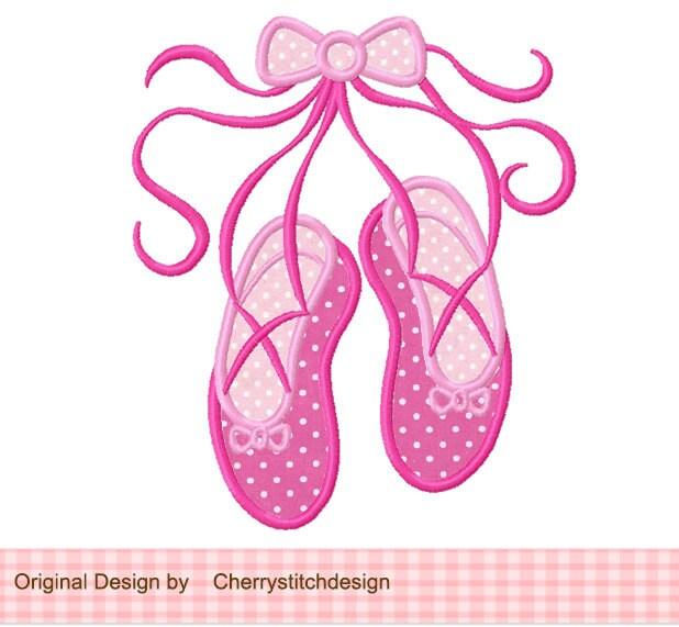 Ballet shoes appliqueballet embroideryballet girl digital for Ballerine disegnate